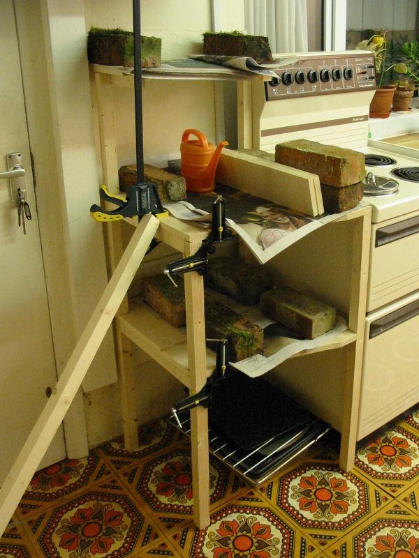 [kitchen shelf during construction]